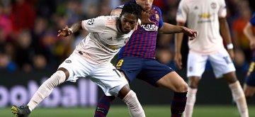 16 th, April  2019, Camp Nou, Barcelona, Spain. Champions League, partido entre el FC Barcelona y el Manchester United.Fred (17) y (08) Arthur durante el partido.El partido ha finalizado 3-0 con goles de (10) Messi por partida doble y (07) Coutinho. El Barcelona pasa a las Semifinales de la Champions.© Xinhua 2019.