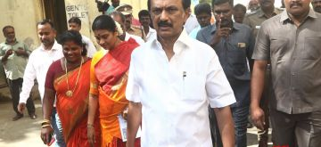 Chennai: DMK President and Leader of Opposition M.K. Stalin arrives to cast his vote for the second phase of 2019 Lok Sabha elections in Chennai, on April 18, 2019. (Photo: IANS)