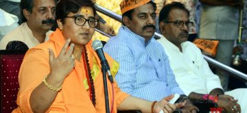 Bhopal: BJP leader Sadhvi Pragya Singh Thakur addresses during a party workers meeting in Bhopal on April 18, 2019. (Photo: IANS)