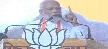 Hoshangabad: Prime Minister Narendra Modi addresses a public rally in Madhya Pradesh's Hoshangabad, on May 1, 2019. (Photo: IANS)