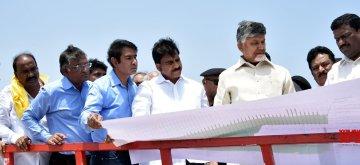Vijayawada: Andhra Pradesh Chief Minister N. Chandrababu Naidu visits Polavaram Project in Vijayawada on May 6, 2019. (Photo: IANS)