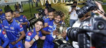 Hyderabad: Mumbai Indians' pose with the IPL 2019 Champions trophy after winning the Final match of IPL 2019 against Chennai Super Kings at Rajiv Gandhi International Stadium in Hyderabad, on May 12, 2019. Mumbai Indians won by 1 run. Mumbai Indians (MI) became the first team to win four Indian Premier League (IPL) titles. (Photo: Surjeet Yadav/IANS)