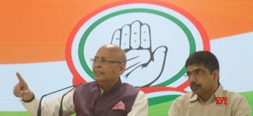 New Delhi: Congress leader Abhishek Manu Singhvi addresses a press conference at the party's headquarters in New Delhi, on May 22, 2019. (Photo: IANS)