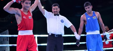 Guwahati: India's Shiva Thapa (Red) after winning the finals in the 60 Kg category against Manish Kaushik (Blue) of India during the second edition of India Open International Boxing Tournament 2019 at Nabin Chandra Bordoloi Stadium in Guwahati, on May 24, 2019. (Photo: IANS)