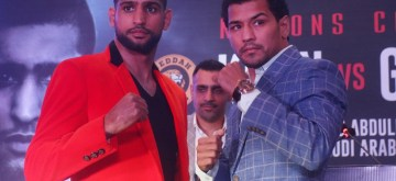 New Delhi: Indian boxer Neeraj Goyat and British boxer Amir Khan during a press conference ahead of their face off at the World Boxing Championship that will take place on July 12, 2019 at the King Abdullah Sports City in Jeddah, Saudi Arabia; in New Delhi on May 31, 2019. (Photo: IANS)