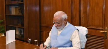 New Delhi: Prime Minister Narendra Modi takes charge of the office of the Prime Minister of India at South Block, in New Delhi on May 31, 2019. (Photo: IANS/PIB)