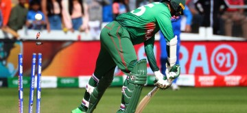 Cardiff: Bangladesh's Shakib Al Hasan gets bowled out during the second warm-up match between India and Bangladesh at the Sophia Gardens in Cardiff, Wales on May 28, 2019. (Photo: IANS)