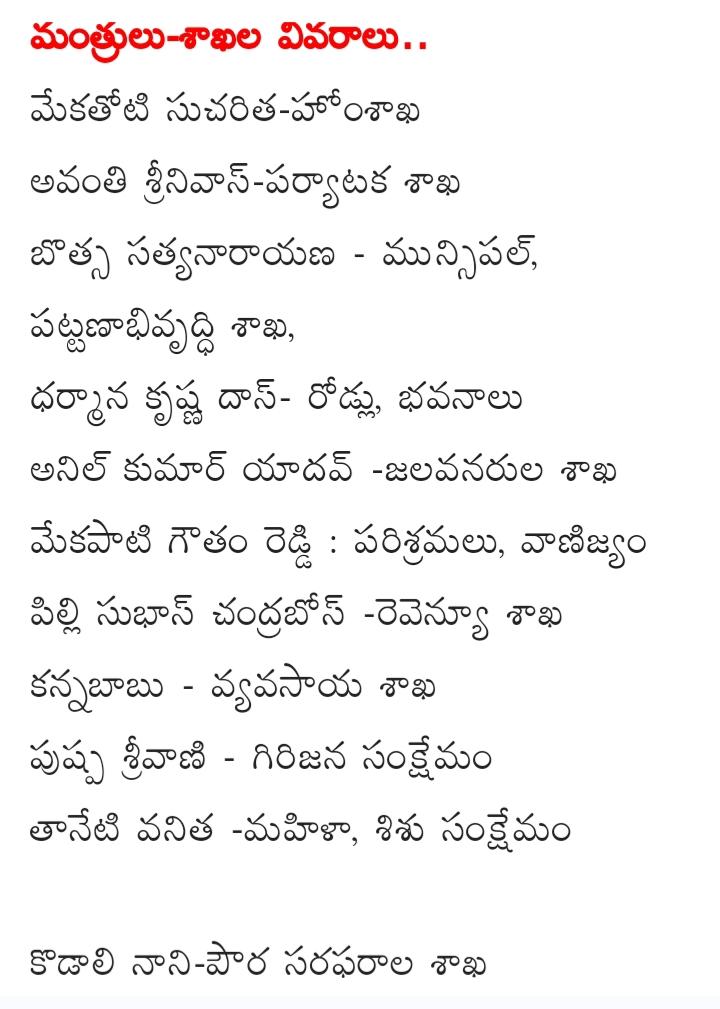 AP CM YS Jagan's Cabinet Ministers And Portfolios Allocation List