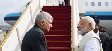Colombo: Sri Lanka Prime Minister Ranil Wickremesinghe sees off Prime Minister Narendra Modi after successfully completing his 1-day visit to Sri Lanka, on June 9, 2019. (Photo: IANS/MEA)
