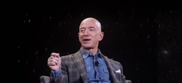 Las Vegas: Jeff Bezos during on-stage talk at Amazon re: Mars conference in Las Vegas on June 6, 2019. (Photos: IANS)