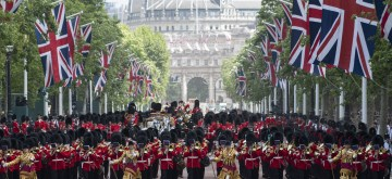 LONDON, June 8, 2019 (Xinhua) -- Soldiers march down the Mall during the Trooping the Colour ceremony to mark Queen Elizabeth II's 93rd birthday in London, Britain,on June 8, 2019. Queen Elizabeth celebrated her official 93rd birthday in London Saturday, with a family gathering on the balcony at Buckingham Palace. (Xinhua/Ray Tang/IANS)