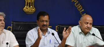New Delhi: Delhi Chief Minister Arvind Kejriwal, Deputy Chief Minister Manish Sisodia and Minister Kailash Gahlot during a press conference in New Delhi on June 12, 2019. (Photo: IANS)