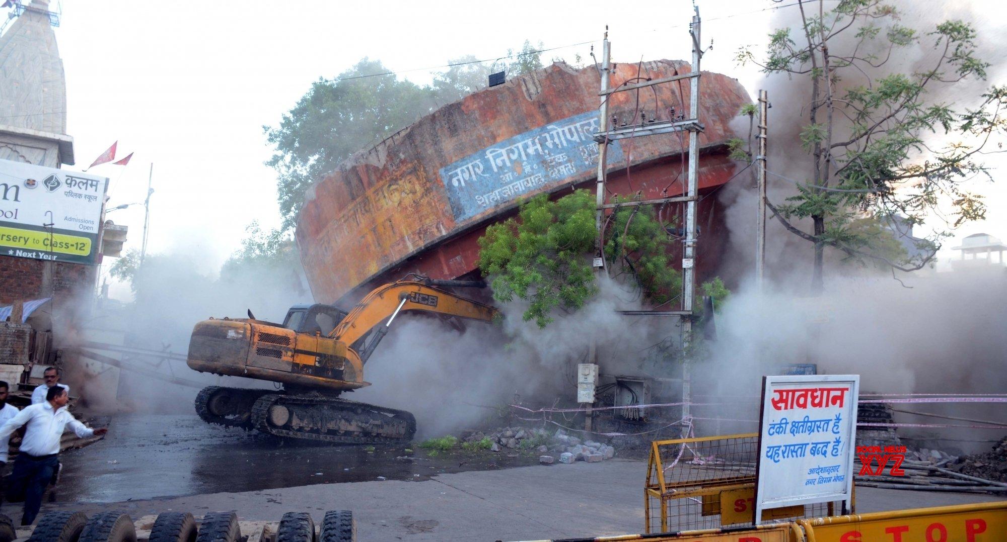 Bhopal: Dilapidated overhead water tank demolished #Gallery