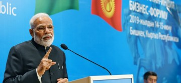 Bishkek: Prime Minister Narendra Modi addresses at India-Kyrgy Business Forum in Bishkek, Kyrgyzstan on June 14, 2019. (Photo: IANS/PIB)