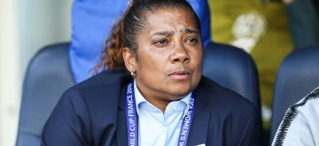 PARIS, June 14, 2019 (Xinhua) -- Head coach Desiree Ellis of South Africa reacts before the Group B match between China and South Africa at the 2019 FIFA Women's World Cup in Parc des Princes in Paris, France, June 13, 2019. (Xinhua/Shan Yuqi/IANS)