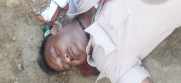 Seraikela: Body of one of the policemen who were killed in a Maoist attack at Kukru village in Seraikela-Kharsawan district of Jharkhand on June 14, 2019. (Photo: IANS)