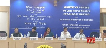 New Delhi: Union Finance and Corporate Affairs Minister Nirmala Sitharaman accompanied by Union MoS Finance and Corporate Affairs Anurag Singh Thakur and Economic Affairs and Finance Secretary Subhash Chandra Garg, chairs the Pre-Budget consultations with the Finance Ministers of States/UTs and the Senior Officers of the Ministry of Finance in the State Governments, in New Delhi on June 21, 2019. (Photo: IANS)