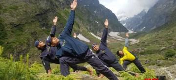 Uttarakhand: State Disaster Response Force (SDRF) personnel practice yoga asanas -postures- on 5th International Yoga Day in the Himalayas,  in Uttarakhand on June 21, 2019. (Photo: IANS)