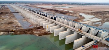 Jayashankar Bhupalpally: A view of the Medigadda barrage where world's largest multi-stage, multi-purpose lift irrigation project Kaleshwaram was inaugurated by Telangana Chief Minister K. Chandrashekhar Rao, in Jayashankar Bhupalpally district (near the borders with Maharashtra and Chhattisgarh) on June 21, 2019. Telangana Governor E.S.L. Narasimhan, Maharashtra Chief Minister Devendra Fadnavis and Andhra Pradesh Chief Minister Y.S. Jagan Mohan Reddy were also present at the inaugural ceremony of the project. (Photo: IANS)