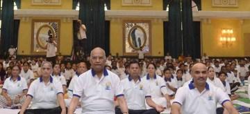 New Delhi: President Ram Nath Kovind practices yoga asanas -postures- at Rashtrapati Bhavan on International Yoga Day 2019 in New Delhi on June 21, 2019. (Photo: IANS/RB)