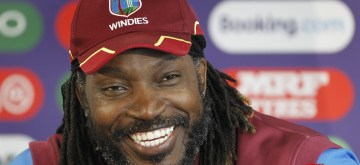 Manchester: West Indies' Chris Gayle addresses a press conference on the eve of their World Cup 2019 match against India at Old Trafford in Manchester, England on June 26, 2019.  (Photo: Surjeet Yadav/IANS)