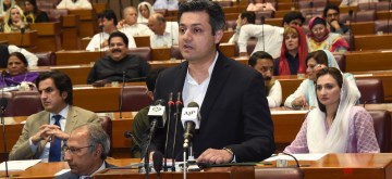 ISLAMABAD, June 11, 2019 (Xinhua) -- The photo released by Pakistan's Press Information Department (PID) on June 11, 2019 shows Pakistani Minister of Revenue Muhammad Hammad Azhar (front) presenting the federal budget for the fiscal year 2019-20 in Islamabad, capital of Pakistan. The Pakistani government on Tuesday proposed in its fresh budget to allocate 200 billion rupees (about 1.33 billion U.S. dollars) for the China-Pakistan Economic Corridor (CPEC) and relevant projects during the 2019-20 financial year starting July 1, 2019. (Xinhua/PID/IANS)