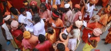 Jammu: Sadhus -ascetics - arrive to register for Amarnath Yatra at Ram Mandir Base Camp in Jammu on June 29, 2019. (Photo: IANS)