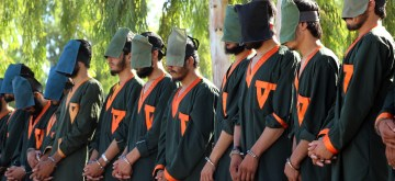 KANDAHAR, June 29, 2019 (Xinhua) -- Arrested militants stand handcuffed in Kandahar province, Afghanistan, June 29, 2019. Government forces have arrested 40 armed militants in Afghanistan's southern Kandahar province over the past 10 days, Kandahar provincial governor Hatytullah Hayat said Saturday. (Xinhua/Sanaullah Seiam/IANS)