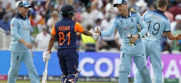 Birmingham: England's cricketers celebrate after winning the 38th match of World Cup 2019 against India at Edgbaston stadium in Birmingham, England, on June 30, 2019. England won by 31 runs. (Photo: Surjeet Yadav/IANS)