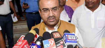 Patna: Bihar Cabinet Minister Mangal Pandey talks to media persons in Patna, on May 28, 2019. (Photo: IANS)