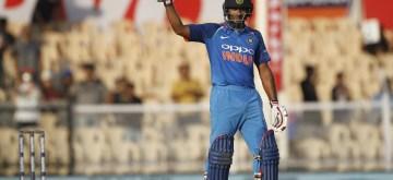 Mumbai: India's Ambati Rayudu celebrates his century during the fourth ODI match between India and West Indies, at Brabourne Stadium in Mumbai, on Oct 29, 2018. (Photo: Surjeet Yadav/IANS)