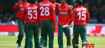 London: Bangladesh players celebrate fall of a wicket during the 27th match of 2019 World Cup between Bangladesh and Pakistan at Lord's Cricket Ground in London, England on July 5, 2019. (Photo Credit: Twitter/@cricketworldcup)