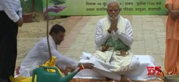 Varanasi: Prime Minister Narendra Modi at the launch of a mega plantation drive at Harahua primary school in Varanasi on July 6, 2019. (Photo: IANS)