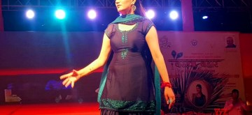 Mathura: Singer-dancer Sapna Chaudhary performs during a programme in Mathura on July 7, 2019. (Photo: IANS)