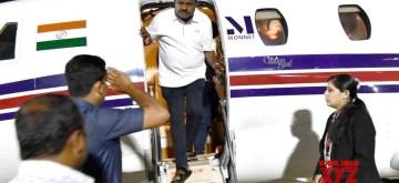 Bengaluru: Karnataka Chief Minister HD Kumarswamy arrives in a special flight at HAL Airport following political developments in Karnataka state in Bengaluru on July 7, 2019. (Photo: IANS)