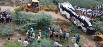 Agra:  Rescue operations underway after at least 29 people were killed when a passenger bus fell into the 40-feet-deep gap between two flyovers on the Yamuna Expressway near Milestone 161 (Jharna nallah) under Etmadpur police jurisdiction of Agra district, Uttar Pradesh on July 8, 2019. (Photo: IANS)