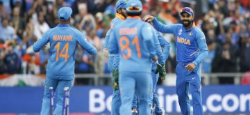 Manchester: Indian skipper Virat Kohli celebrates fall of Henry Nicholls' wicket during the 1st Semi-final match of 2019 World Cup between India and New Zealand at Old Trafford in Manchester, England on July 9, 2019. (Photo: Surjeet Kumar/IANS)