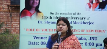 New Delhi: BJP MP Poonam Mahajan addresses at the programme during party's Membership drive at Jawaharlal Nehru University, in New Delhi, on July 8, 2019. (Photo: IANS)