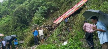 Pauri: Rescue operations underway at the site where a bus met with an accident killing at least three persons in Uttarakhand's Pauri Garhwal district on July 9, 2019. (Photo: IANS)