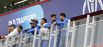 Manchester: Sanjya Bangar (batting coach), Ravi Shastri (coach), Bharat Arun (bowling coach) Sreedhar (fielding coach), Yuzvendra Chahal and Ravindra Jadeja after rains interrupt the 1st Semi-final match of 2019 World Cup between India and New Zealand at Old Trafford in Manchester, England on July 9, 2019. New Zealand will resume their innings on Wednesday on the same score with 23 balls of their innings still remaining. (Photo: Surjeet Kumar/IANS)