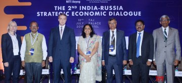 New Delhi: Russian Federation Deputy Minister of Economic Development Timur Maksimov, NITI Aayog Member Ramesh Chand and other dignitaries at the closing session of the Second India-Russia Strategic Economic Dialogue (IRSED), in New Delhi on July 10, 2019. (Photo: IANS/PIB)