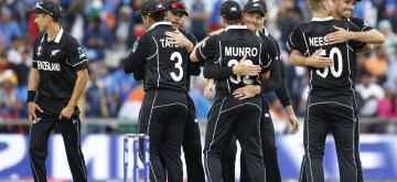 Manchester: New Zealand players celebrate after winning the 1st Semi-final match of 2019 World Cup against India at Old Trafford in Manchester, England on July 10, 2019. (Photo: Surjeet Kumar/IANS)