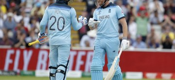 Birmingham: England's Jason Roy celebrates with batting partner Jonny Bairstow after hitting a boundary during the second semi-final match of the 2019 World Cup between England and Australia at the Edgbaston Cricket Stadium in Birmingham, England on July 11, 2019. (Photo: Surjeet Kumar/IANS)