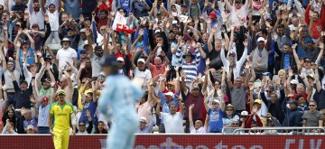 Birmingham: Fans during the second semi-final match of the 2019 World Cup between England and Australia at the Edgbaston Cricket Stadium in Birmingham, England on July 11, 2019. (Photo: Surjeet Kumar/IANS)