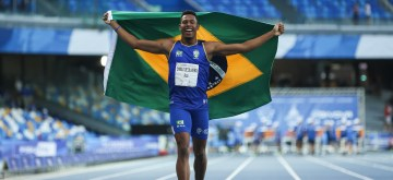 NAPLES, July 12, 2019 (Xinhua) -- Paulo Andre Camilo of Brazil celebrates after the final of Men's 200m of Athletics at the 30th Summer Universiade in Naples, Italy, July 11, 2019. Camilo won the gold medal with 20.28 seconds. (Xinhua/Zheng Huansong)