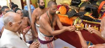 Kanchipuram: President Ram Nath Kovind offers prayers at Devarajaswami Temple in Kanchipuram, Tamil Nadu on July 12, 2019. (Photo: IANS/RB)