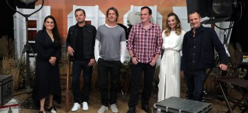 Beverly Hills, CA - Producer Shannon McIntosh, Brad Pitt, Leonardo DiCaprio, Producer/Writer/Director Quentin Tarantino, Margot Robbie and David Heyman seen at Sony Pictures ONCE UPON A TIME IN HOLLYWOOD Photo Call in Beverly Hills, CA