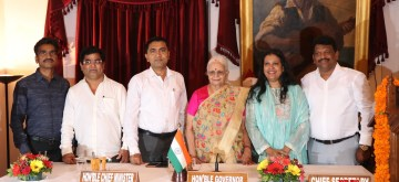 Panaji: Goa Governor Mridula Sinha and Chief Minister Pramod Sawant with the newly sworn in Cabinet Ministers - Congress rebels Chandrakant Kavlekar, Jennifer Monserrate, Filipe Nery Rodrigues and lone BJP MLA Michael Lobo, who resigned as Deputy Speaker of the Goa Legislative Assembly earlier in the day; at Raj Bhavan in Panaji on July 13, 2019. (Photo: IANS)