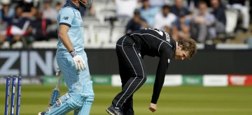 London: New Zealand's Lockie Ferguson (R) in action during the final match of the 2019 World Cup between New Zealand and England at the Lord's Cricket Stadium in London, England on July 14, 2019. (Photo: Surjeet Yadav/IANS)