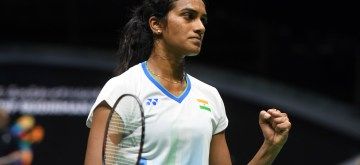 NANNING, May 21, 2019 (Xinhua) -- Pusarla V. Sindhu of India celebrates scoring during the women's singles match against Goh Jin Wei of Malaysia in the group match between India and Malaysia at TOTAL BWF Sudirman Cup 2019 held in Nanning, south China's Guangxi Zhuang Autonomous Region, May 21, 2019. Pusarla V. Sindhu won by 2-0. (Xinhua/Li Jundong/IANS)